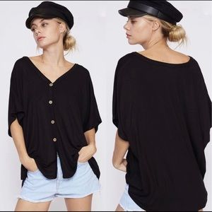 Bellanblue Tops - VAL Softest Button Down Top - BLACK